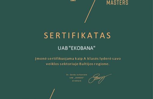 """UAB """"Ekobana"""" jau turi European Business Masters sertifikatą"""