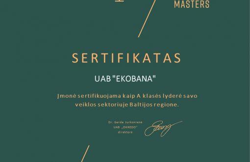 "UAB ""EKOBANA"" already has the European Business Masters certificate"